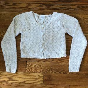Moda Int'l Crop Knit Silk/Cotton Ivory Sweater